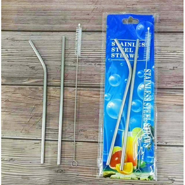Bộ 2 ống hút inox cong và thẳng kèm cọ rửa bảo vệ môi trường