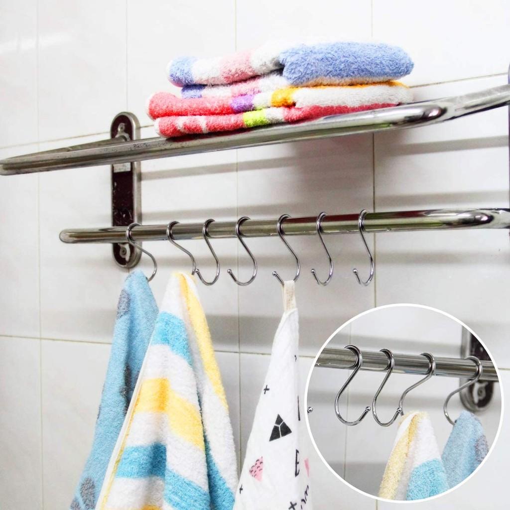 Móc treo đồ chữ S inox 304 treo quần áo chịu lực, đa năng loại dày (nhiều size)