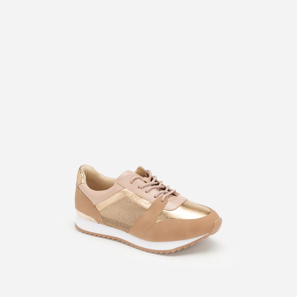 Vascara - Giày Sneaker Phối Metallic Đan Lưới - SNK 0029 - Màu H