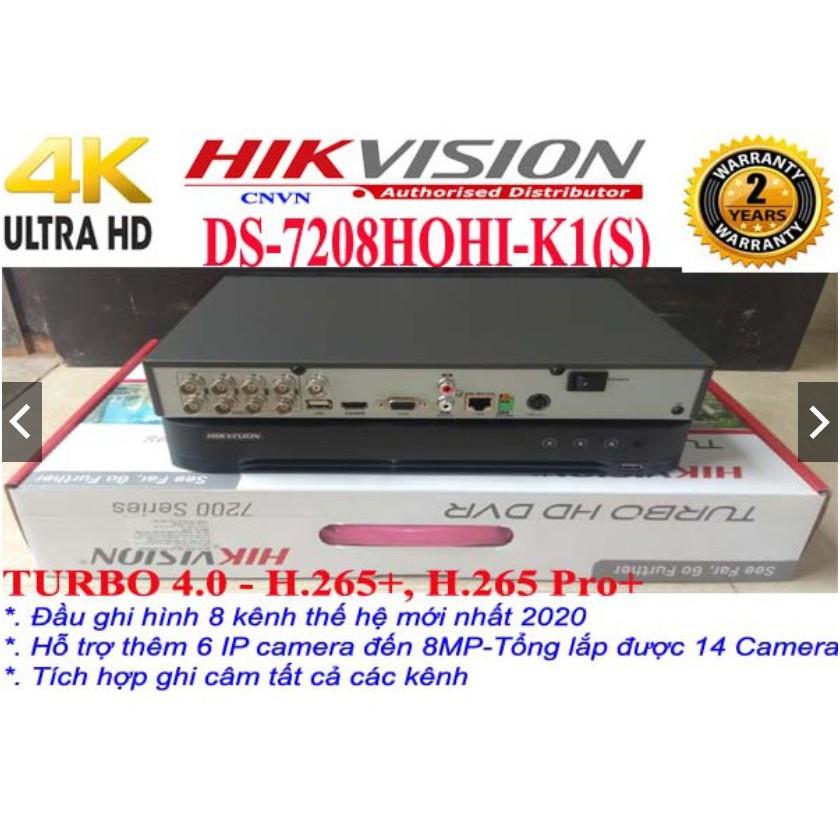 Đầu ghi hình Camera 8 kênh thế hệ mới nhất 4.0-chuẩn H.265+ HIKVISION DS-7208HQHI-K1(S)