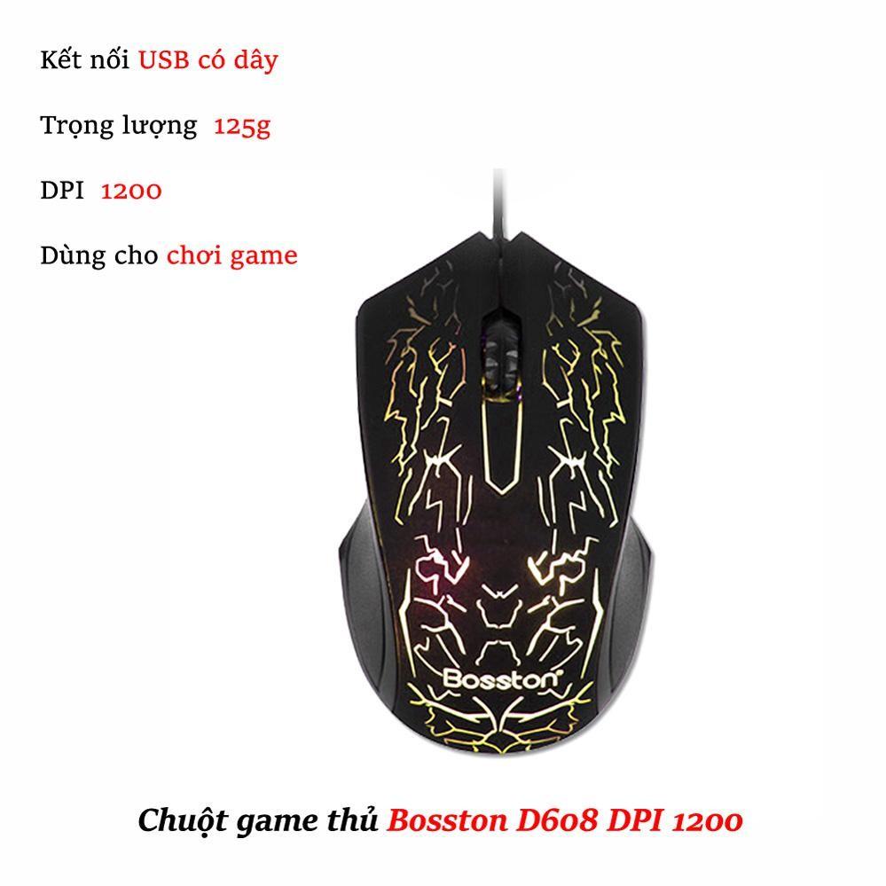 Chuột chuyên Game Bosston D608 Led 7 màu tự chuyển (Đen)