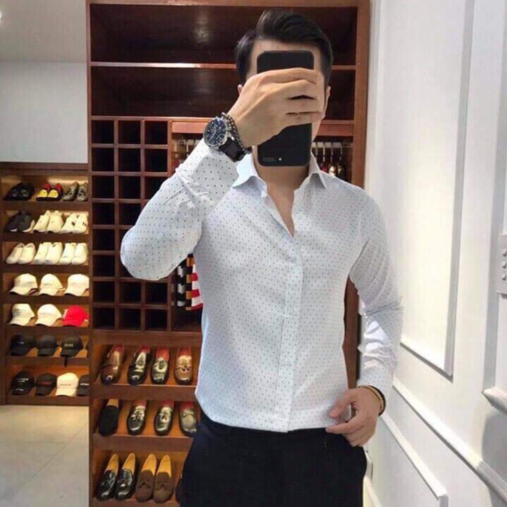 Áo sơ mi họa tiết chấm bi Luis mặc công sở cao cấp chất vải siêu đẹp