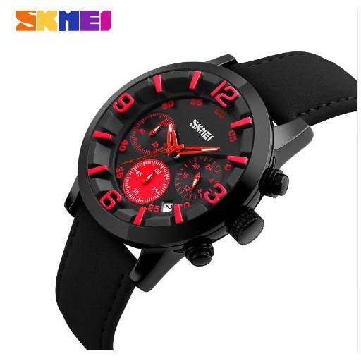Đồng hồ nam SKMEI SK9147P dây da cao cấp ( Mặt Đen )