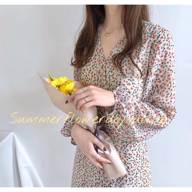 Váy hoa nhí vintage cổ chéo dài tay Ulzzang VKE 9101 🌸 Hàng Quảng Châu(ảnh cuối shop tự chụp)