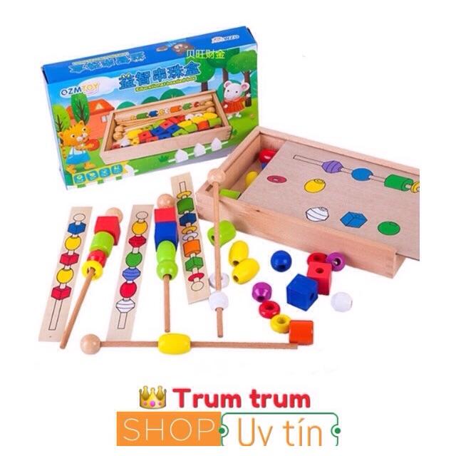 Đồ Chơi Xếp Chuỗi Hạt xiên que ( giáo cụ trong lớp Montessori )