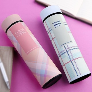 Bình giữ nhiệt dung tích 500 ml Bình đựng nước có nắp lọc giữ nóng lạnh thiết kế màu kẻ caro đẹp mắt