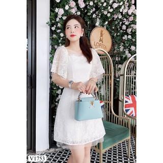 Váy ren kem thiết kế V1753 - ĐẸP SHOP DVC ( Ảnh mẫu và ảnh trải sàn do shop tự chụp ) thumbnail