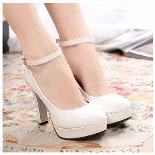 ✑Large size women s shoes 41-43 Autumn leather stiletto round-toe mid-heel single Black and white high-heeled 5-7-10CM