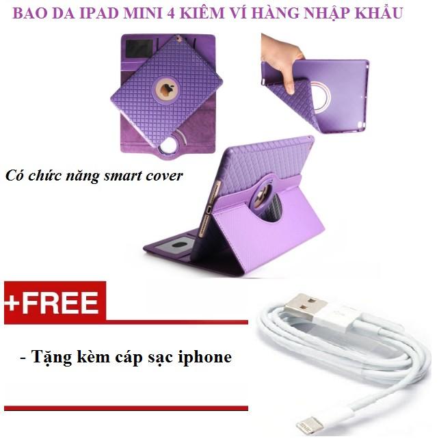 Bao da kiêm ví xoay 360 độ tắt mở màn hình cho iPad mini 4 tặng kèm cáp sạc iphone - 3177207 , 980555257 , 322_980555257 , 295000 , Bao-da-kiem-vi-xoay-360-do-tat-mo-man-hinh-cho-iPad-mini-4-tang-kem-cap-sac-iphone-322_980555257 , shopee.vn , Bao da kiêm ví xoay 360 độ tắt mở màn hình cho iPad mini 4 tặng kèm cáp sạc iphone