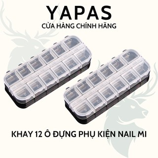 Khay đựng đá nail , hộp đựng đá nail 12 ô có nắp cậy, khay để phụ kiện nail mi đồ móng thumbnail
