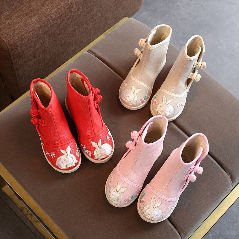 Chinese Embroidered Shoes Kids Girls Embroidered  Rabbit Printed Booties Old Beijing Ankle Booties Shoes