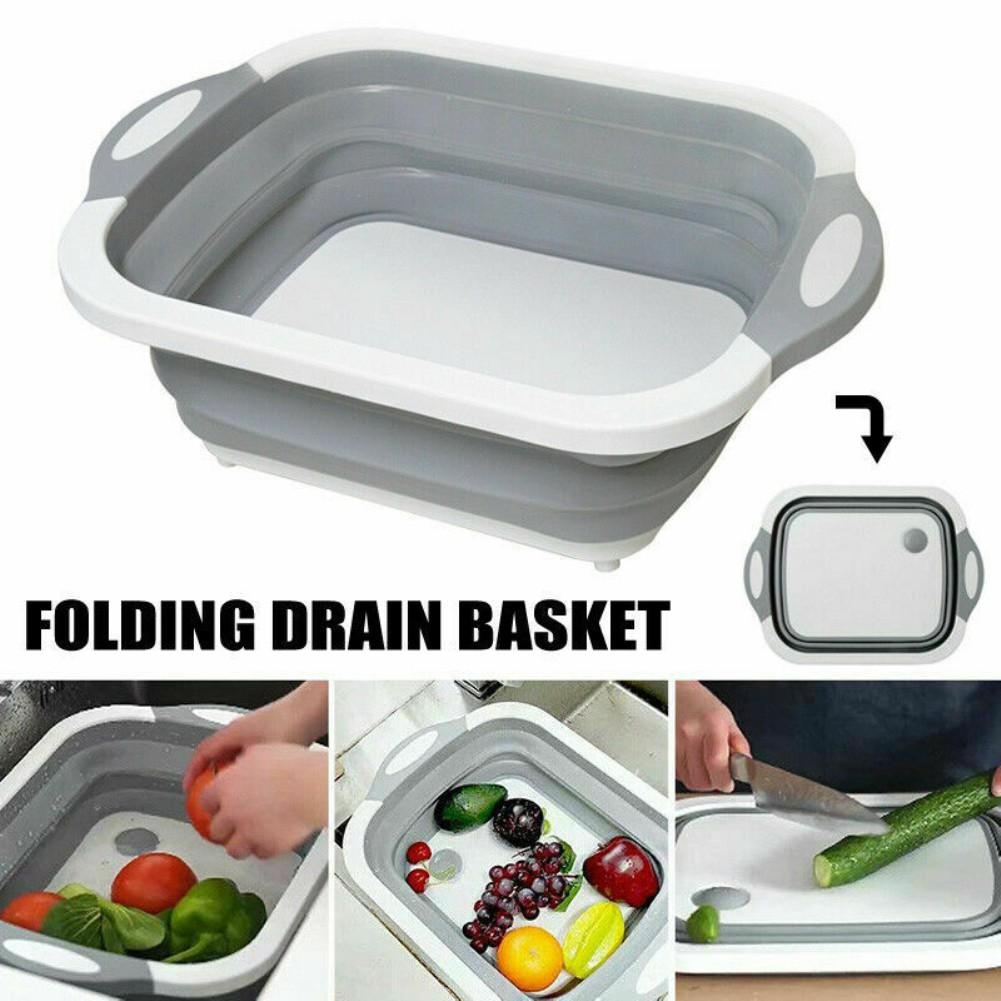 ↨COD↨Chopping Board Folding Drain BasketFruit WashingBasin Tool