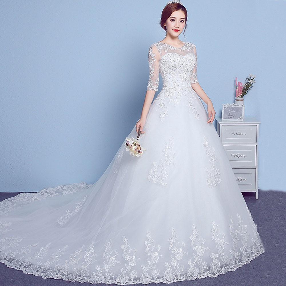 Váy cưới tay lỡ phối ren xinh xắn cho nữ marry
