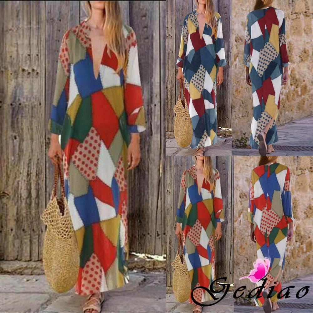 Đầm maxi vải lanh dài tay cổ V phối màu sắc nổi bật phong cách Boho