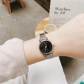 Đồng hồ nữ MONO kim loại bạc mặt đen size 22mm