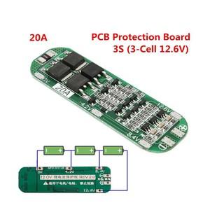 Bảng mạch bảo vệ sạc Pin Lithium 3S 20A Li-ion 18650 PCB BMS 12.6V 64x20x3.4mm