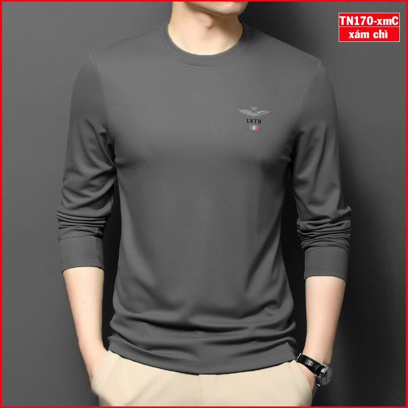 Áo thun nam tay dài TN170 logo đại bàng vải sợi tre tổng hợp bảo vệ môi trường