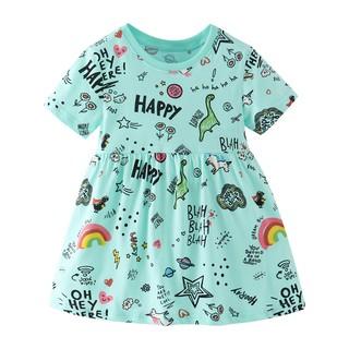 Mã 8033 Váy hè vải thun xanh mát in hình các con vật Happy cho bé gái