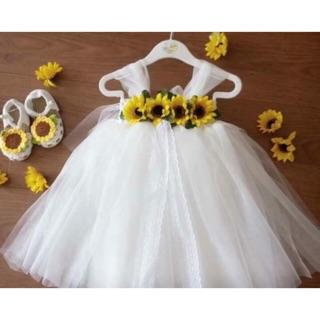 Freeship 99k TQ_Váy tutu trắng phối hoa hướng dương