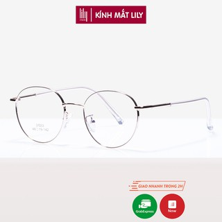 Gọng kính cận nữ Lilyeyewear kim loại, mắt tròn - 31033