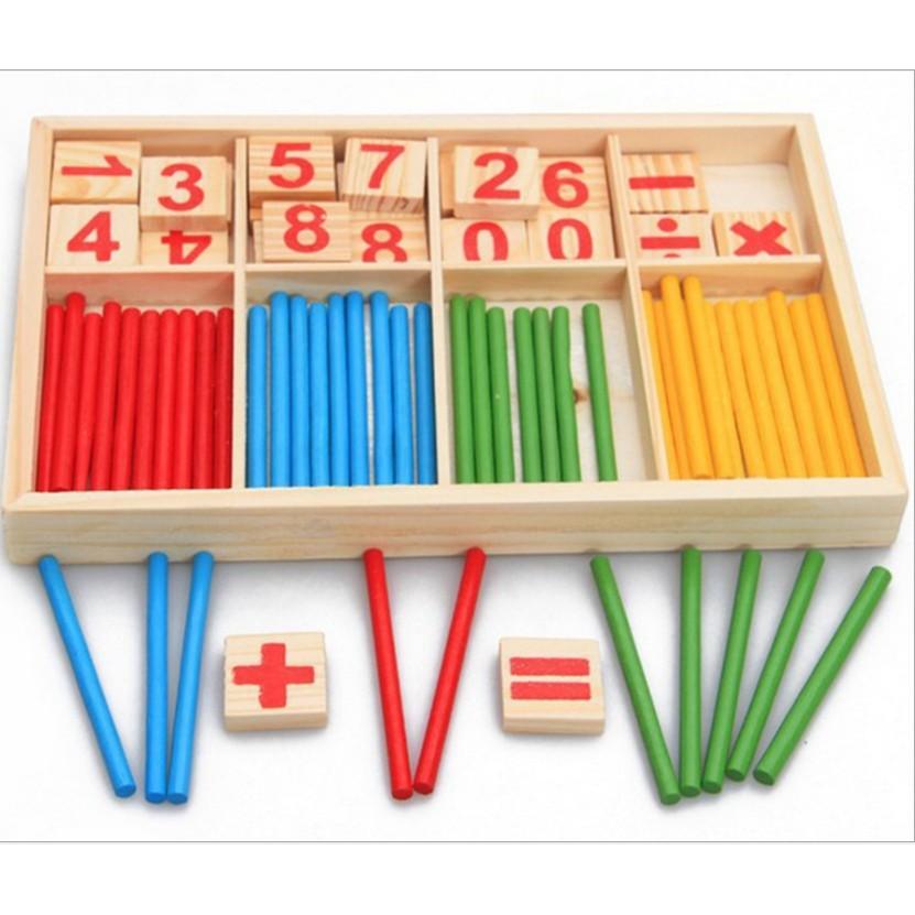 Đồ chơi que tính toán học gỗ – bảng tính que cho bé