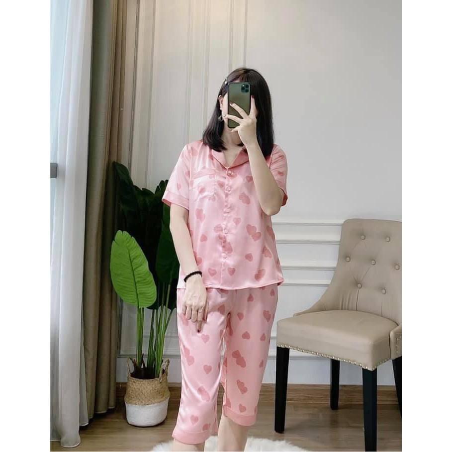 [Hàng mới về] Bộ ngủ lụa quần lửng áo cộc tay có size S M L