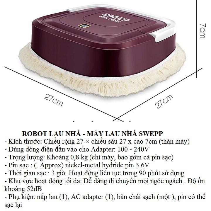 Robot lau nhà - Video thật - Máy lau nhà tự động chuyên lau khô sạc điện usb - Có Bảo Hành 3 tháng