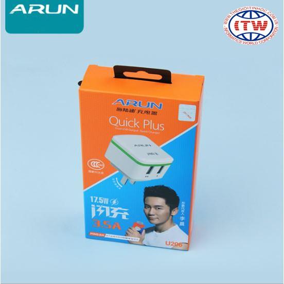 Cóc sạc nhanh Arun 3.5A 2USB-U206 (Trắng)