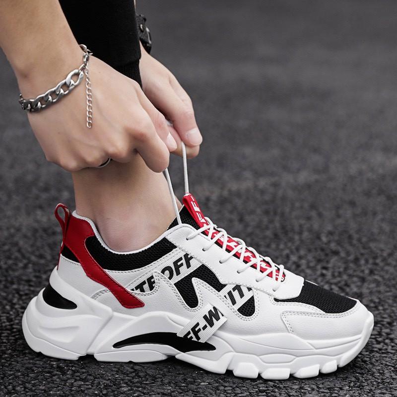 Giày nam tăng chiều cao Phối chữ NewOFF 2020 đế điểm đen cực chất - giày thể thao nam
