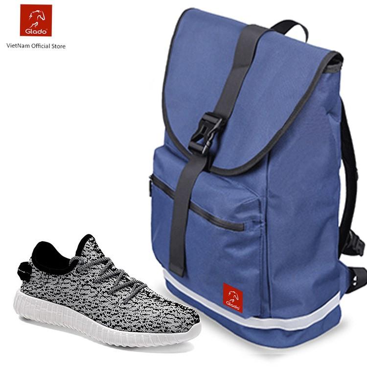 Combo Balo Classical Glado BLL005 (Xanh) + Giày Sneaker Thời Trang Zapas (Màu Trắng-Đen) - GS011