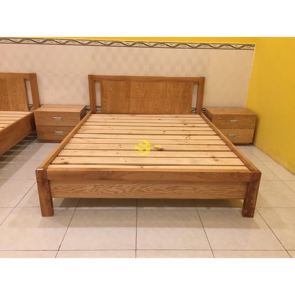 Giường ngủ gỗ sồi kiểu nhật 1m6