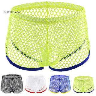 iy Fashion Sexy Mesh See-through Low Waist Men's Breathable Boxer Briefs Underwear