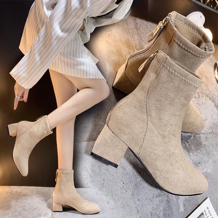 Boots combat/Boots cổ ngắn nữ, có khóa kéo sau gót, gót thô, co dãn, phong cách Hàn Quốc, dễ kết hợp, mẫu mới nhất