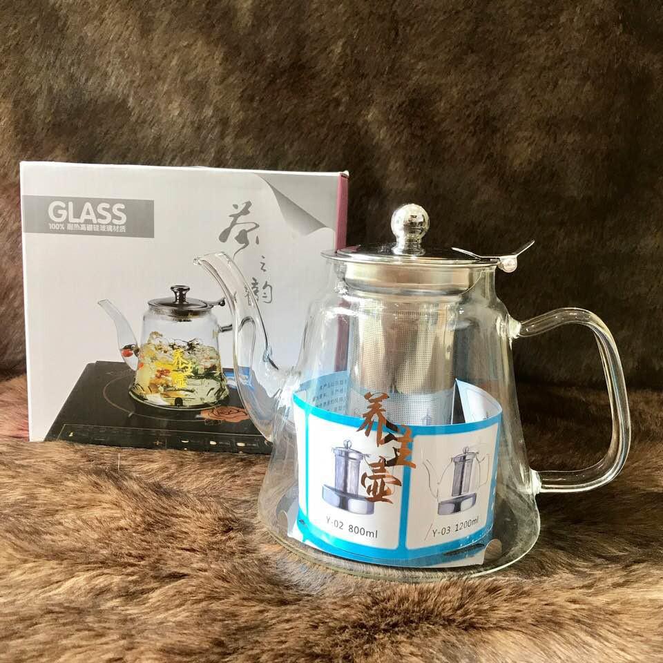 Bình lọc trà thuỷ tinh chịu nhiệt cao cấp lõi lọc Inox 304 1.2 Lít - Dùng được trên bếp từ
