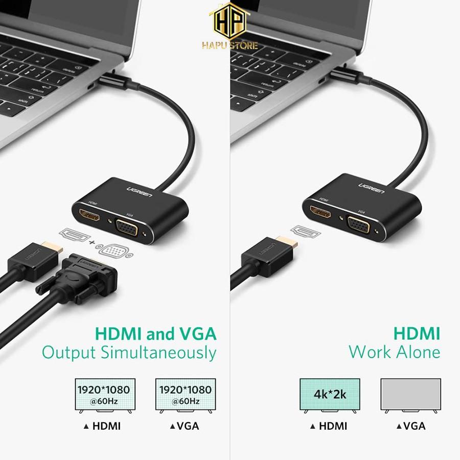 Cáp chuyển USB Type-C to HDMI và VGA Ugreen 50318 chính hãng - Hapustore