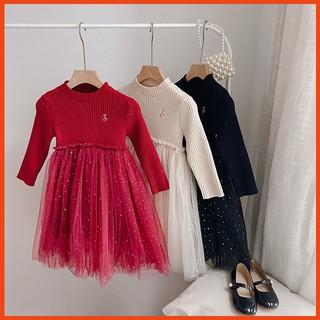 Váy bé gái, Váy len cho bé gái phối lưới cực xinh - Hàng Quảng Châu Ambb Kids (có clip, ảnh thật)