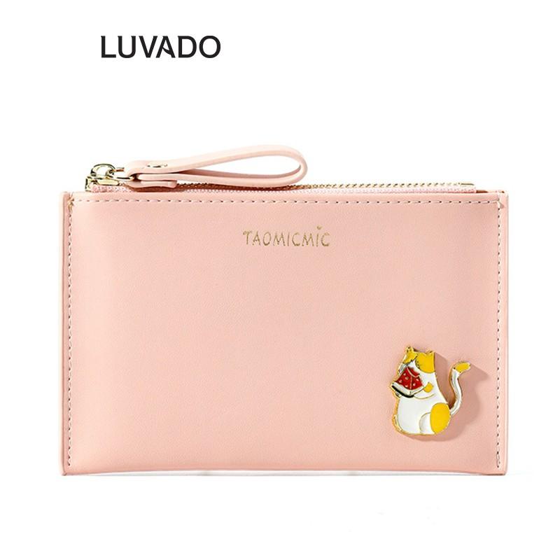 Ví nữ mini dễ thương ngắn TAOMICMIC nhiều ngăn nhỏ gọn bỏ túi thời trang cao cấp LUVADO VD404