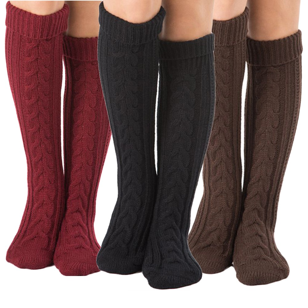 luoyangmudan Winter  High  Solid Color Women Warm Twist Knitted Stockings