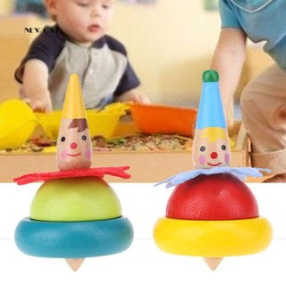 ღNK_2Pcs Wooden Colored Clown Gyro Spinning Tops Educational Xmas Gift Kids Toys
