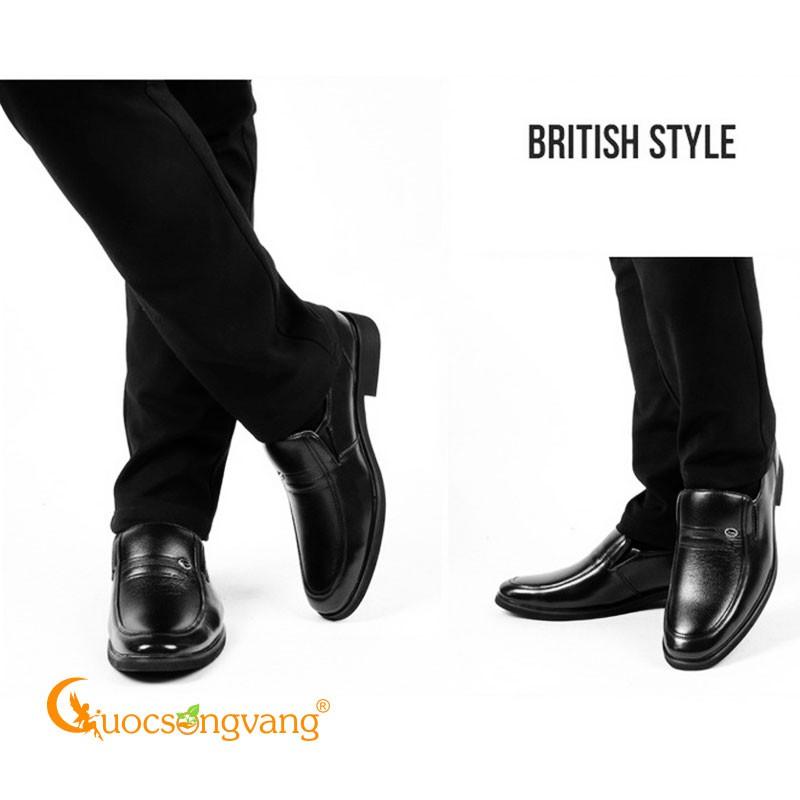 Giày da nam màu đen giày lười nam kiểu anh da thật GLG103 Cuocsongvang