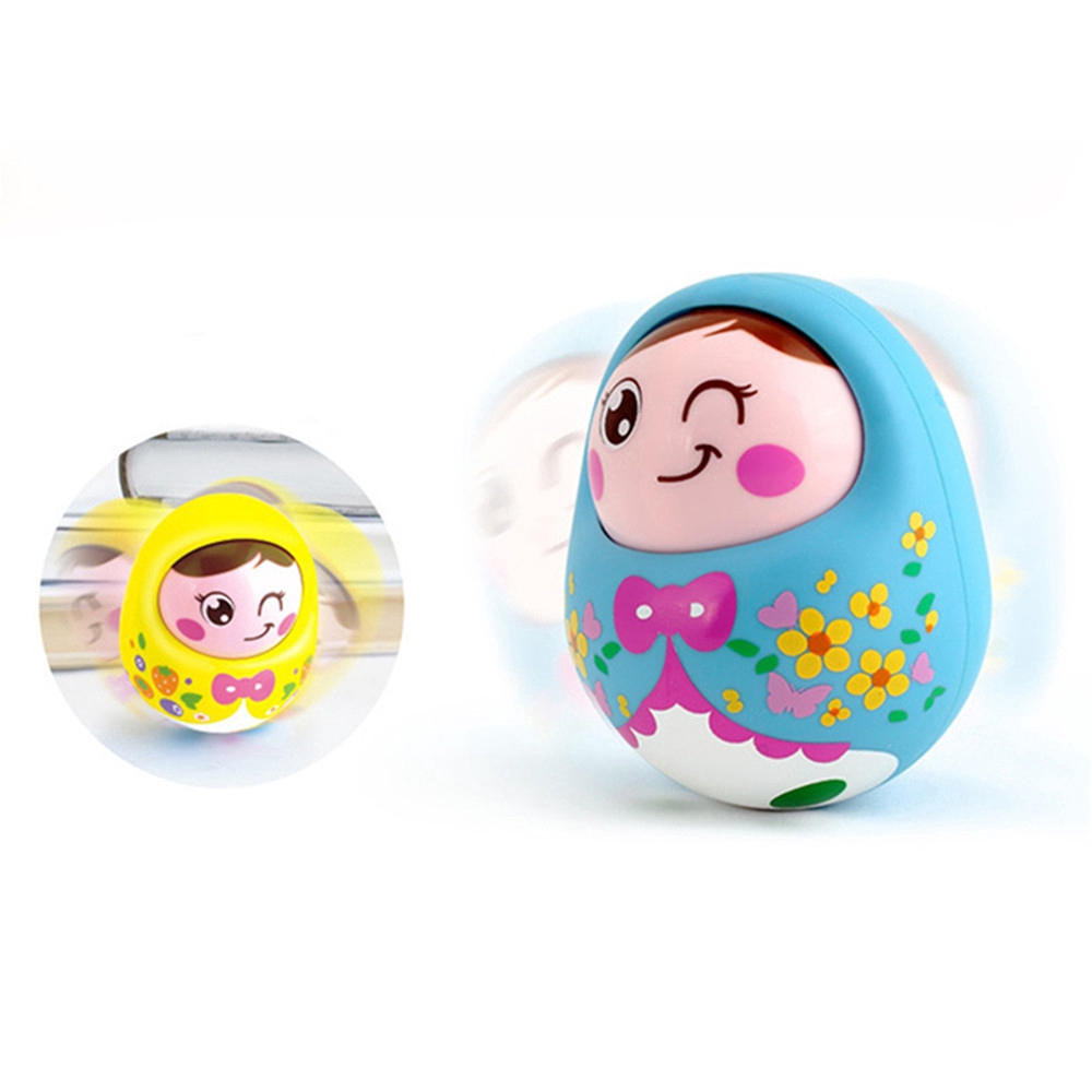 Baby Rattles Mobile Doll Bell Blink Eyes Tumbler Roly-poly Silicon Teether Toy Matlyoshka