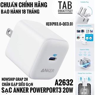 Củ Sạc Anker PowerPort 3 IQ3 20w – A2632 (Bảo Hành 18T)