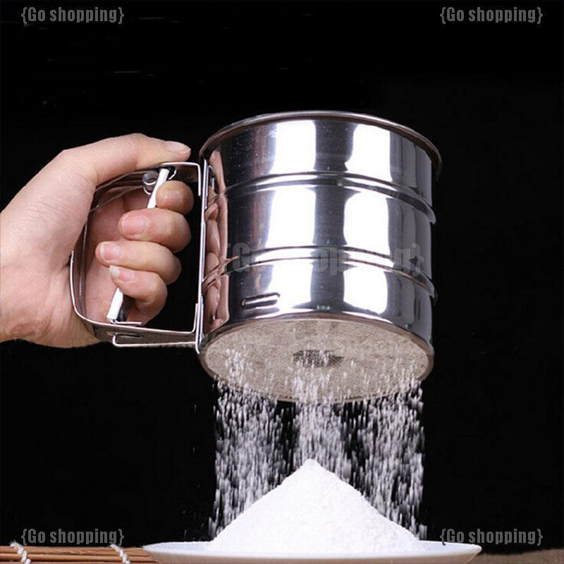 {Go shopping}Stainless Steel Mesh Flour Sifting Sifter Sugar Strainer Kitchen Baking Cup Tool