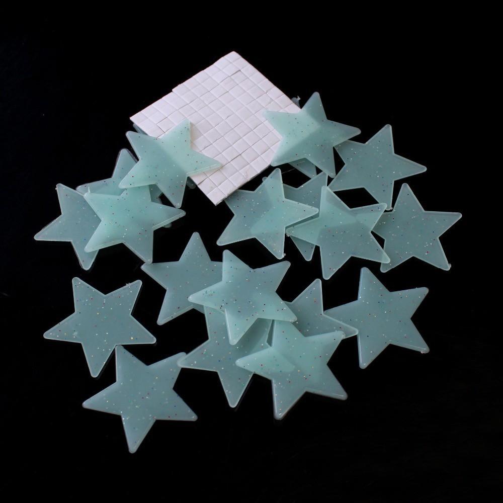 Set 100 miếng sticker dạ quang dán tường hình ngôi sao dùng để trang trí phòng ngủ dành cho bé tiện dụng