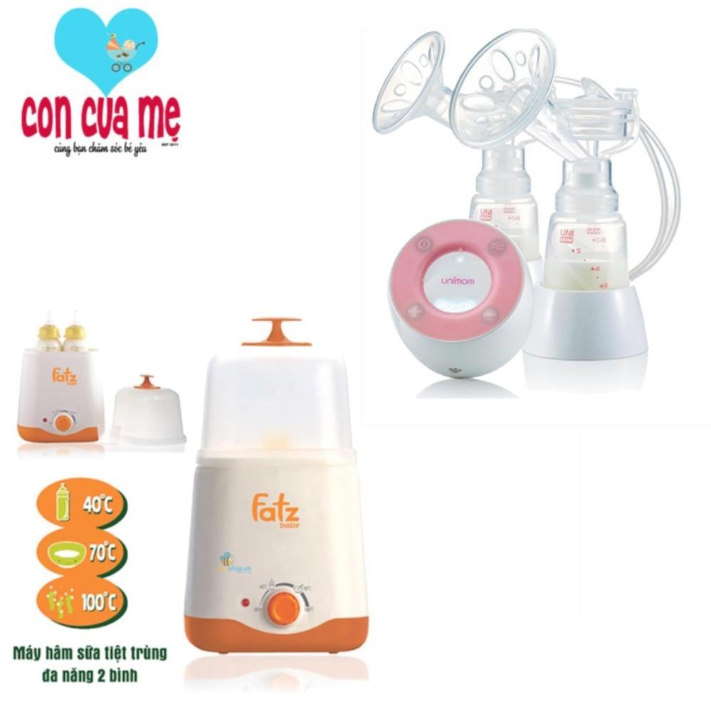 Bộ máy hút sữa điện đôi không BPA Unimom Minuet có pin sạc kèm Adapter và máy tiệt trùng 2 bình cổ r