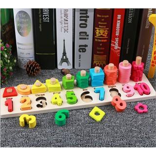 Đồ chơi giáo dục 2in1, Bộ học số đếm, hình khối bằng gỗ