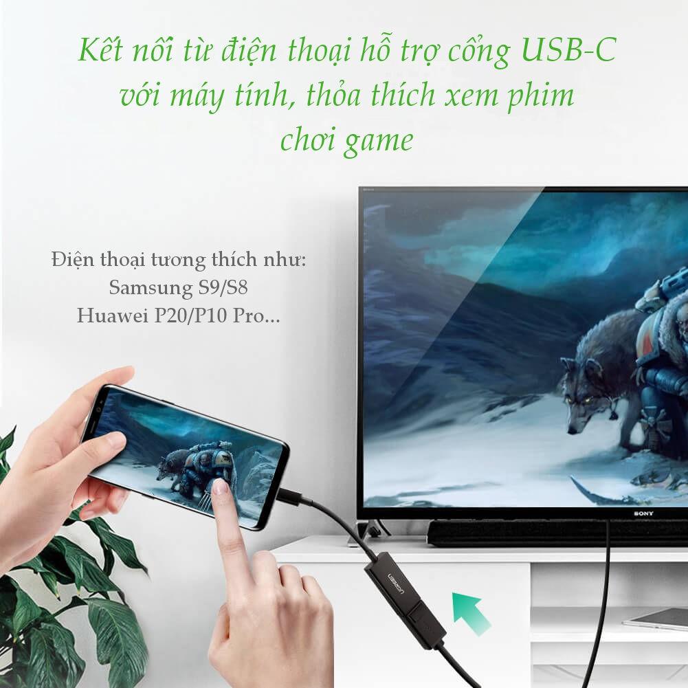 Cáp chuyển đổi UGREEN 50433 USB type C sang DisplayPort dài 15cm độ phân giải 4K*2K@60Hz