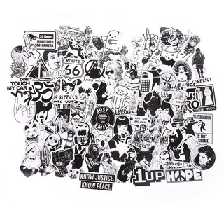 Specialhour 100Pcs Black and White Stickers Skateboard Luggage Laptop PVC Graffiti Stickers