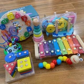 Set 7 món đồ chơi bằng gỗ cho bé