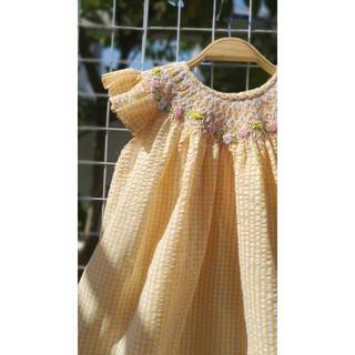 Váy smock caro vàng tay cánh tiên